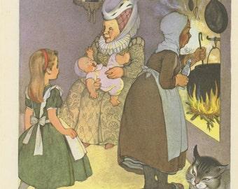Little Alice, The Duchess And Baby, Alice's Adventures In Wonderland, Lewis Carroll, Marjorie Torrey, USA, Antique Children Print