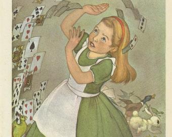 Little Alice, Playing Cards Surround Her, Alice's Adventures In Wonderland, Lewis Carroll, Marjorie Torrey, USA, Antique Children Print