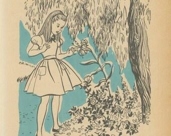 1955 Alice In Wonderland, Alice Talks To The Flowers In Garden, Illustrated By Roberta Paflin, USA, Antique Children Print