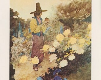 Hans In His Garden, The Devoted Friend, Charles Robinson, Antique Print, USA, 1976