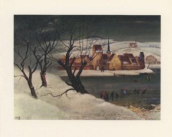 Ice Skating In Franconia, F Von Rieger, Antique Print, London, 1974