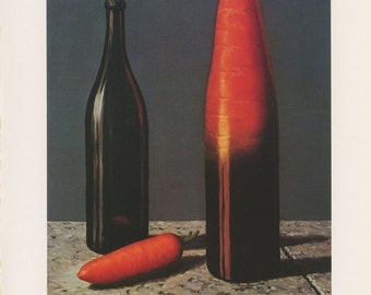 Modern Art, The Explanation, Wine Bottle And Carrot, Rene Magritte, Antique Print, USA, 1972