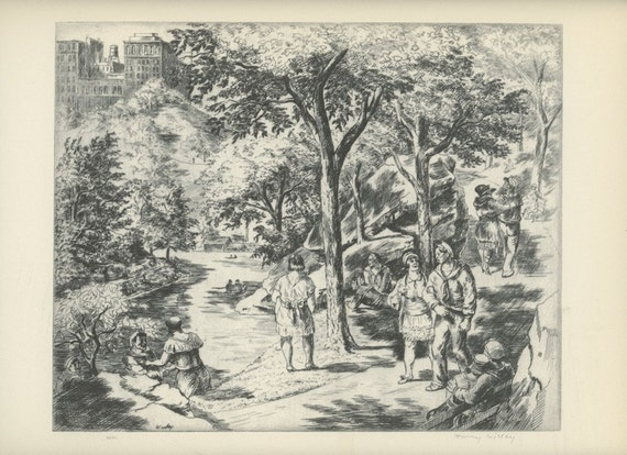 1939 Central Park By Harry Wickey, Men And Women Strolling,  Antique American Prints, New York Art