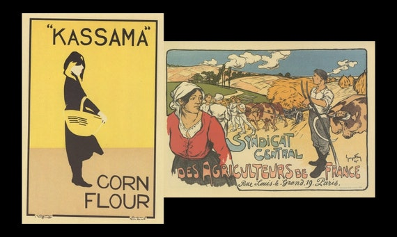 French Poster Art, London Kassama Corn Flour, And Paris Central Agriculture Association Of France