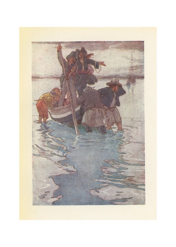 1920 Peter Pan, Taking The Lost Boys And Wendy To Captain Hook's Pirate Ship, Antique Children Print, Illustrated By Alice B. Woodward, Printed In London, England