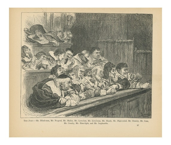 1890 The Jury, Blindman, Malice, No-good, Love Lust, Live Loose, Heady, High Mind, Enmity, Liar, Cruelty, Hate Light, Implacable, Pilgrim Biblical Story, Printed In The United States Of America, Black And White Lithograph, Europe