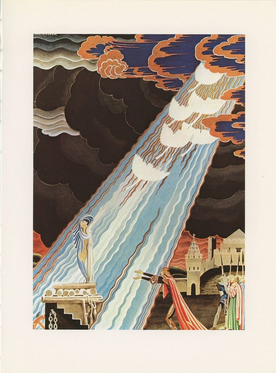 Prince Reaches Out Swans Fly Toward Princess Storm, The White Swans Grimms Fairy Tales, Kay Nielsen, Antique Children Print, USA, 1975