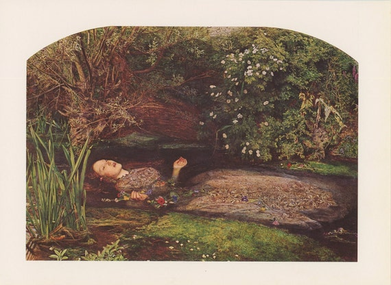 Princess Floating In Water Surrounded By Flowers, Ophelia, John Everett Millais, Victorian England Era, Antique Print, USA, 1975