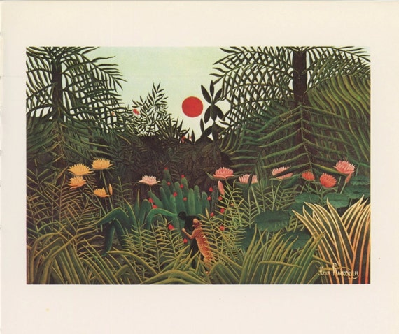 Leopard Attacking Native In Jungle With Trees And Flowers, Jungle At Sunset With Attack, Henri Rousseau, Antique Print, Printed In USA, 1975