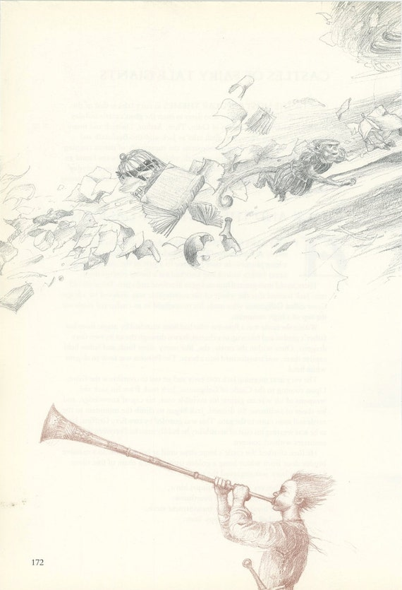 Castle Boy Blows Trumpet WIth Books Birdcage And Monkey Flying, Alan Lee, Antique Print, Printed In USA, 1984
