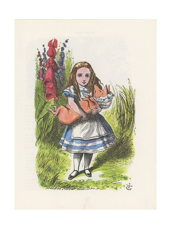 Alice Holds Baby Pig In Bonnet Alice In Wonderland By