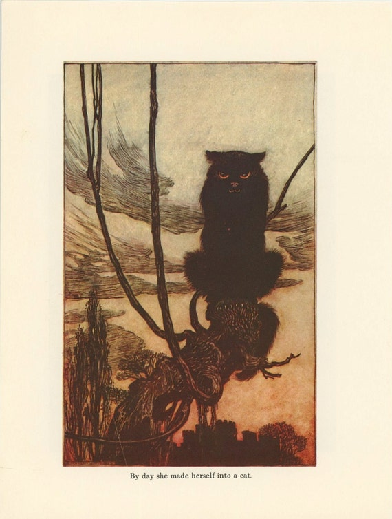 Grimms Fairy Tale, Black Witch Cat And Man With Fox, Arthur Rackham, Printed In America, Antique Children Print