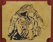 Firefighter Plaque,wooden