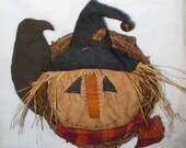 Primitive Scarecrow Head Door Hanger Wreath - Halloween - Fabric