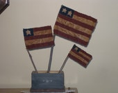 Primitive Americana Flags - Hand Painted Fabric - set of 3 - Folk Art Decoration - Patriotic - July 4th
