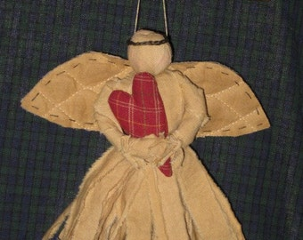 Primitive Strip Angel Doll - Muslin Fabric - Small Hanging Angel - Primitive Doll Holding Heart