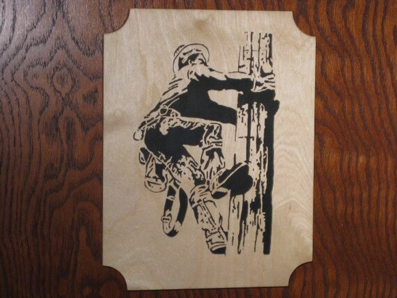 Lineman Climbing Pole - Wooden Picture - Fretwork