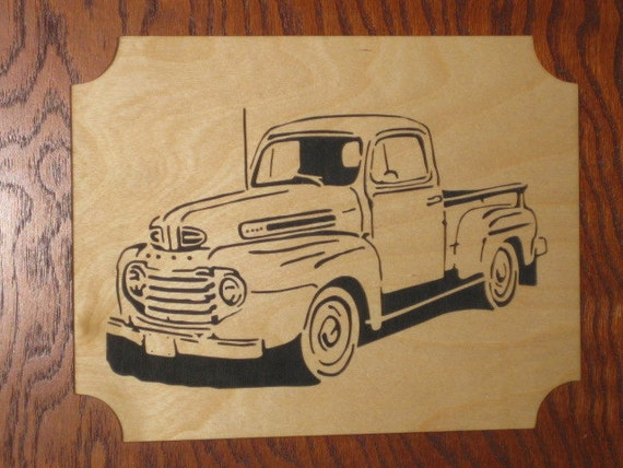 Fretwork Scroll Saw 1949 Ford Pick Up Truck - Wooden Handmade Plaque - Wall Hanging