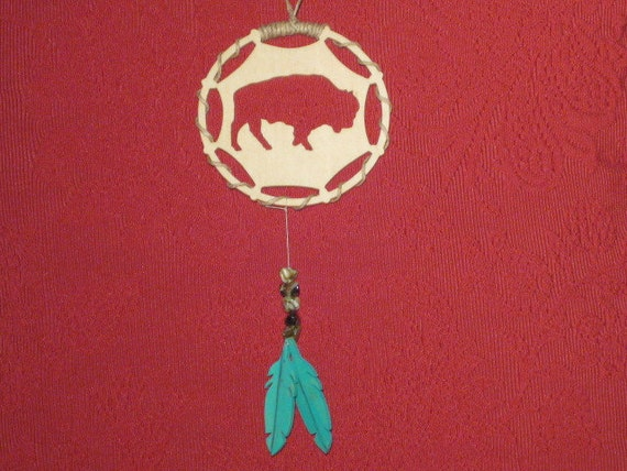 Buffalo Fretwork Scroll Saw Dream Catcher - wooden  ornament  with 2 feathers - Small Wall Hanging -