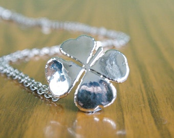 Real Four Leaf Clover Silver pendant necklace