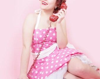 Pink Polka dot Pin Up Rockabilly Dress 50s Retro