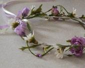 Wedding Accesories Bridal Flower crown Lavender floral circlet headpiece Hair Wreath bohemian hair flowers headband
