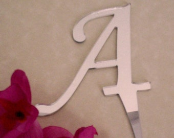 Wedding Cake Initial Cake Topper Cheap Wedding Accessories Letter A mirrored Monogram cake top, birthdays, sweet sixteen, anniversary cakes