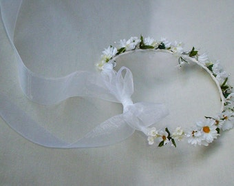 Daisy flower crown veil alternative bridal Wedding hair wreath accessories white sheer organza ribbon Halo Headpiece silk daisies small girl