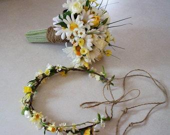 Wedding Flowers Daisy Bouquet and hairwreath set of 2 Twine wrap Bridal Bouquet accessories Flower Crown bridal silk flowers headpiece