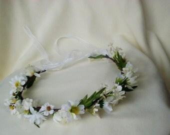 Daisy Chain baby Headband photo prop Faux Daisies Wedding headpiece Bridal flower crown music Festival Hair Flowers hippie headwreath