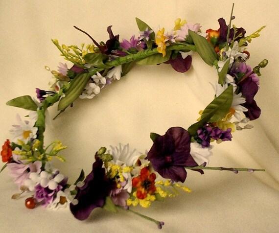 Fall Bridal headpiece Flower Crown purple hairwreath Custom for Larissa