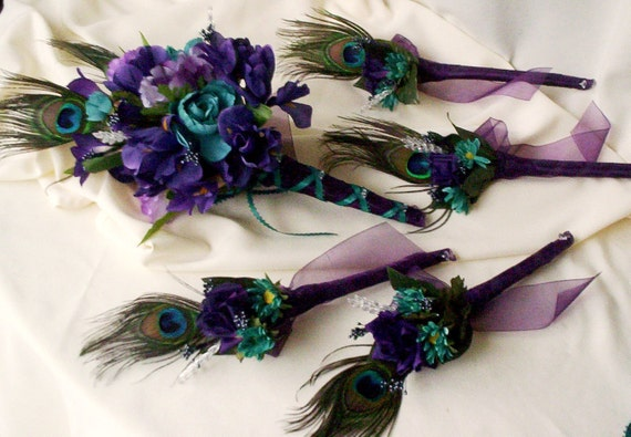 Peacock Feathers Bridal Bouquet Boutonnieres 10 Piece Package Silk Wedding Flowers custom Red Teal for Katherine