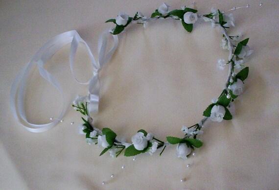 Wedding bridal accessories Flower girl Hair crown First Communion Halo White silk roses Pearls Circlet floral wreath headpiece flower crown