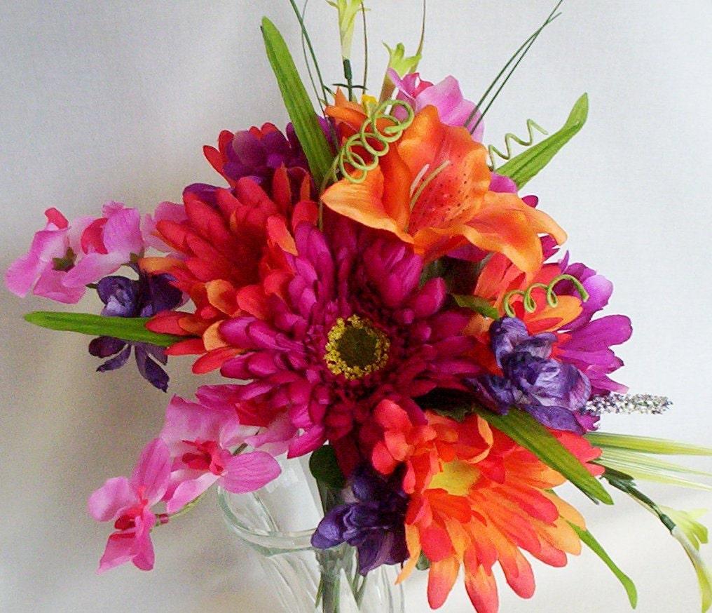 Make Silk Wedding Flowers: Tropical Wedding Bouquet Hot Pink Orange By
