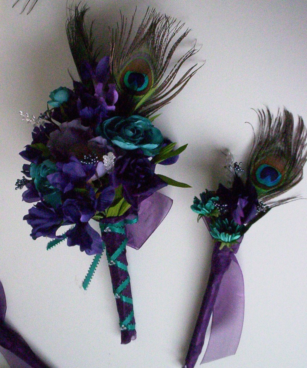 Best Ideas For Purple And Teal Wedding: Weddings Peacock Purple Teal Bridal Bouquets 15 Piece Package