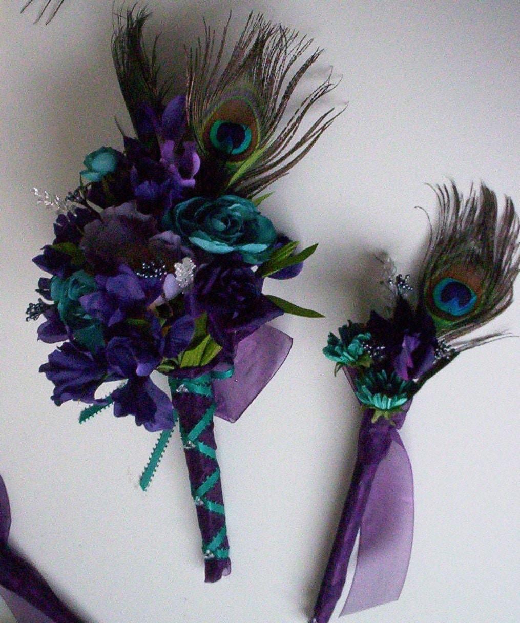 Teal Wedding Flowers Ideas: Weddings Peacock Purple Teal Bridal Bouquets 15 Piece Package
