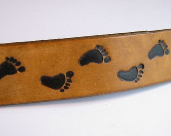 Hair Barrette Clip Leather Footprint Barrette