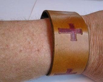 Leather Wristband Leather Bracelet Christian Calvary Crosses