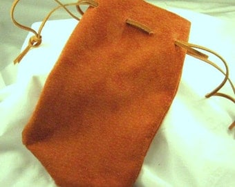 Suede Leather Bag 4 x 7 inch SCA Medieval Purse Leather Pouch
