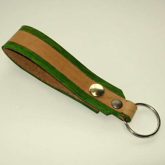 Tan Leather Key Fob Snap Loop for Belt or Pack Green Keychain Wristlet