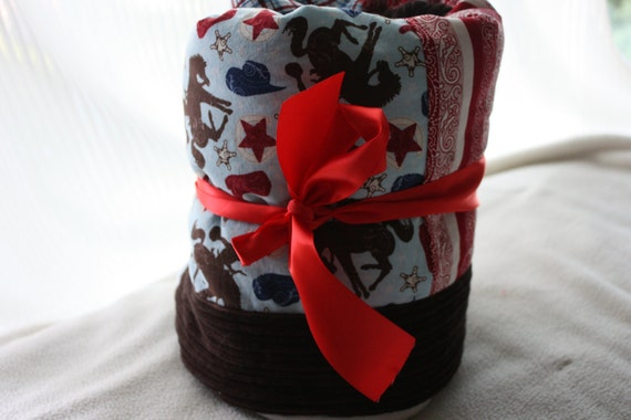 WESTERN BLANKET UNIQUE-Riley Blake Wanna Be A Cowboy 2 Quilt Blanket With Polka Dot Minky