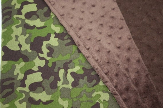 CAMOUFLAGE STROLLER BLANKET With Brown Dot Minky