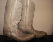 NOW HALF PRICE//Sale// Vintage 1960's Acme Gray Blue Leather Cowboy Snakeskin Boots Mens Size 10 5