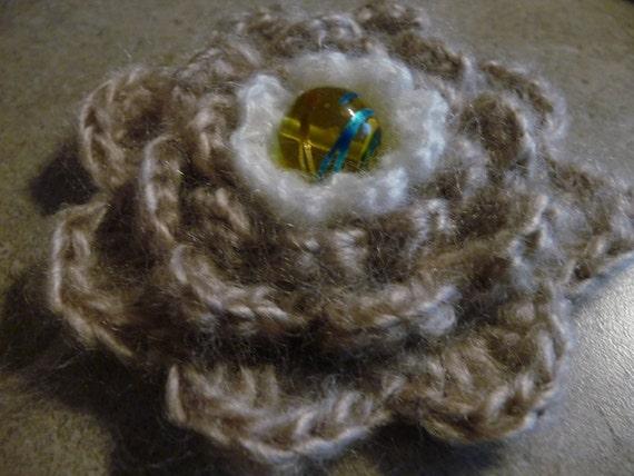 Beige mohair stylish crochet brooch - nice gift
