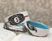 LACE MONOGRAM- Modern Painted Lace & Chain Ceramic Bracelet in White, Aqua and Black.