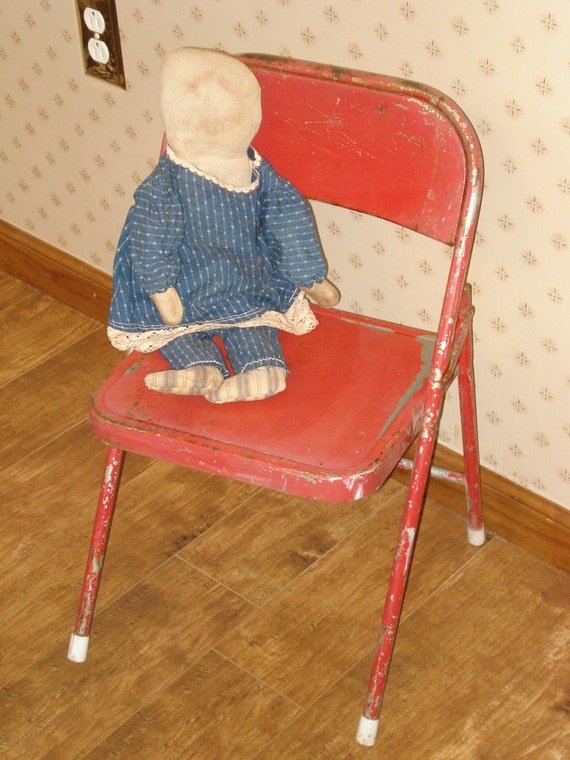 Vintage Childs Metal Folding Chair Old Red Chippy Worn Paint