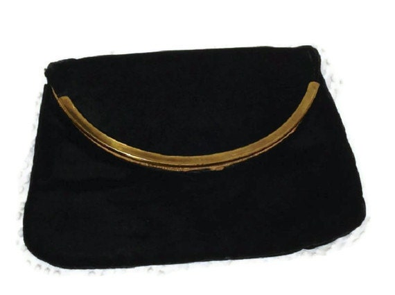 Vintage Ladies Black Velvet Clutch - Hand Bag