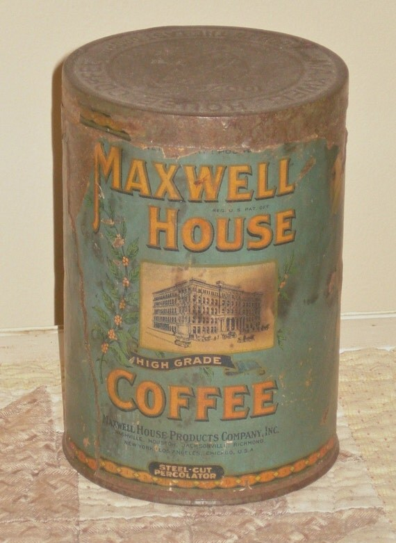 Antique coffee tin paper label no holes maxwell house for Classic house labels