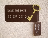Save the Date cards. Key to my heart. Cutout, Scrapbook, Papercut and Calligraphy by Mama Tita