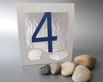 Table Numbers for Sea Themed Wedding, Sea Shells, Event Table Decoration, Undersea World Style, Cutout, Scrapbook, Papercut by Naboko